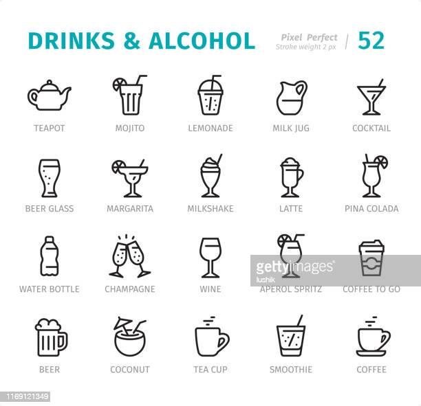 illustrazioni stock, clip art, cartoni animati e icone di tendenza di drinks and alcohol - pixel perfect line icons with captions - bibita