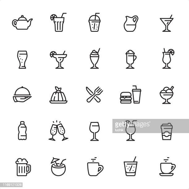drinks and cocktails - outline icon set - panna cotta stock illustrations, clip art, cartoons, & icons