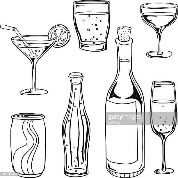 ilustraciones, imágenes clip art, dibujos animados e iconos de stock de colección de bebidas en blanco y negro - botella de vino