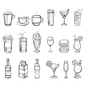 Drinks Doodle Set. Handdrawn Vector Illustration