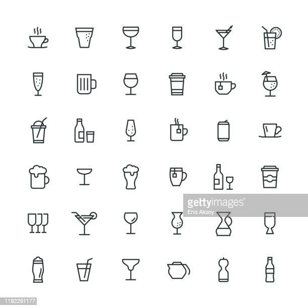 stockillustraties, clipart, cartoons en iconen met dranken icon set - koffie drank
