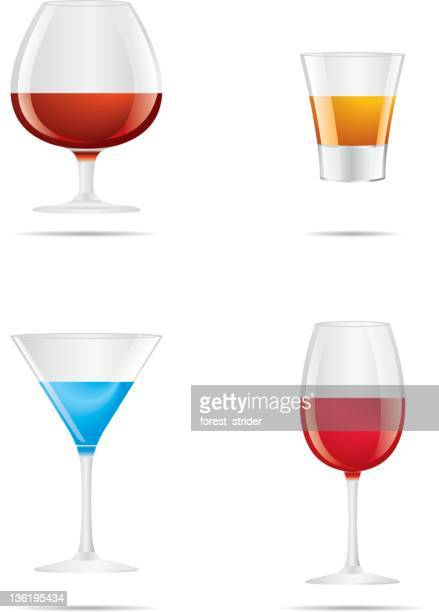 drinks icon set - shot glass stock illustrations, clip art, cartoons, & icons
