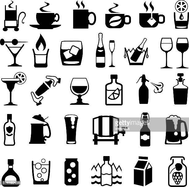 drinks icon set - juice drink stock illustrations, clip art, cartoons, & icons