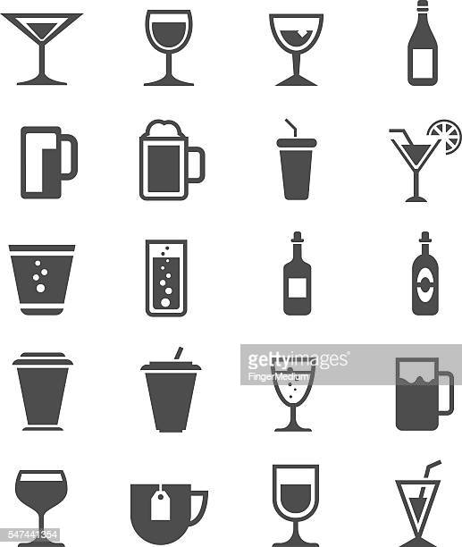 drinks icons set - cognac brandy stock illustrations, clip art, cartoons, & icons
