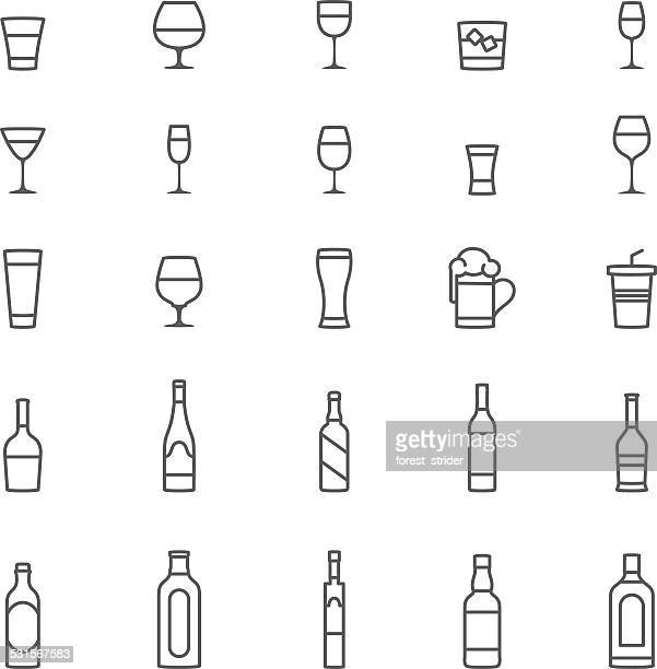 drinks icons - whiskey stock illustrations