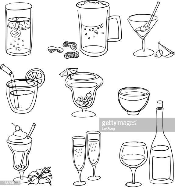 drinks line art set - juice drink stock illustrations, clip art, cartoons, & icons