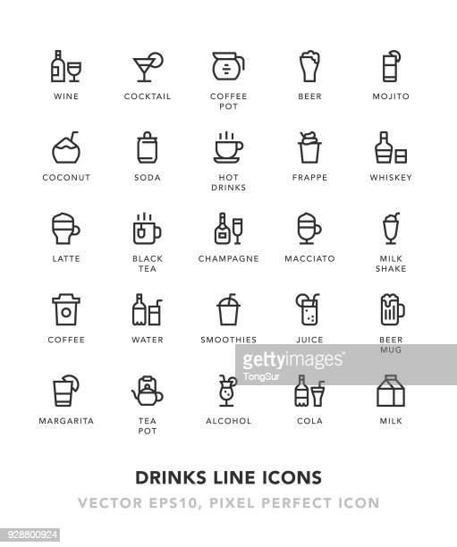 drinks line icons - juice drink stock illustrations, clip art, cartoons, & icons
