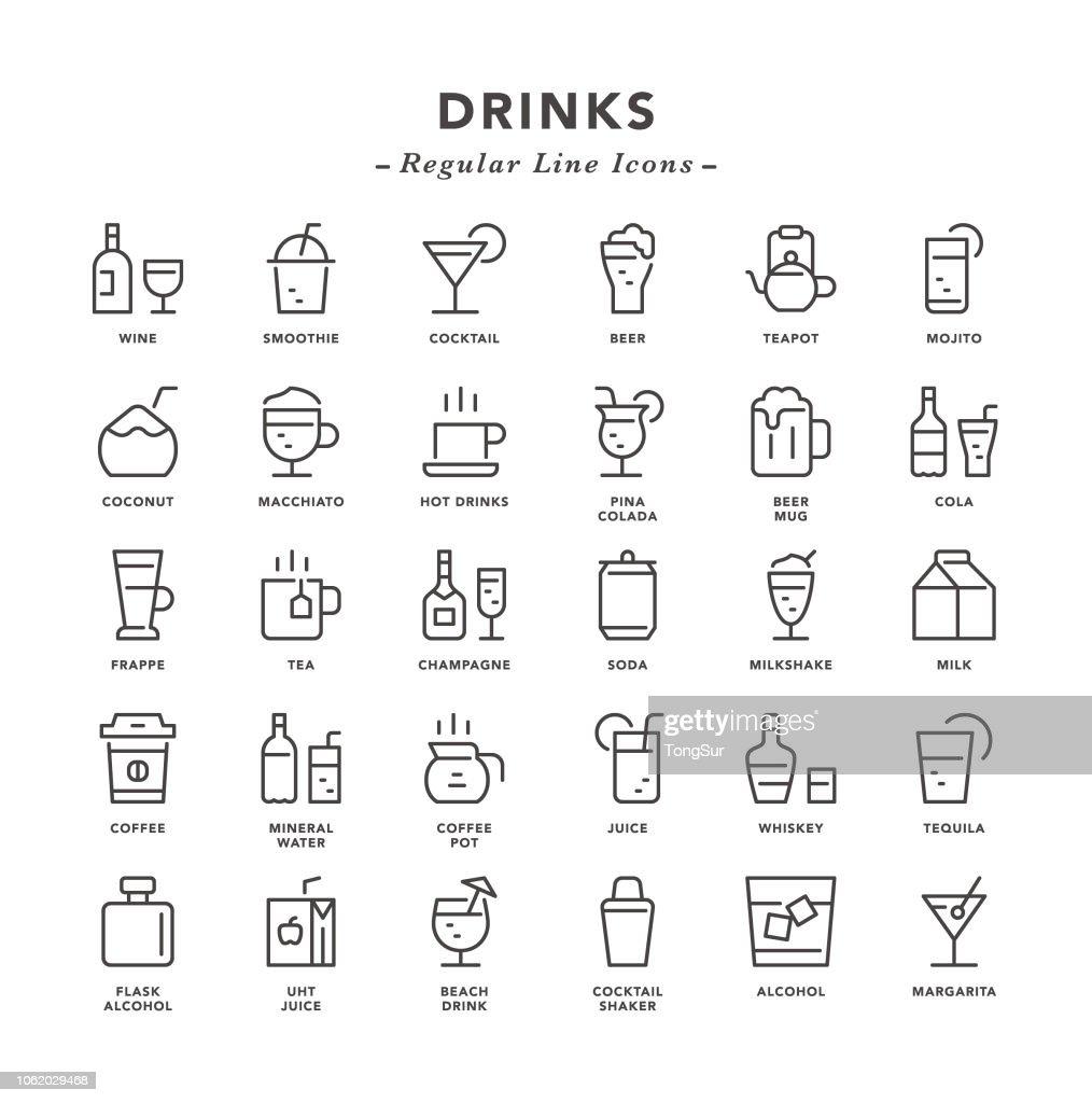 Drinks - Regular Line Icons : Stock Illustration