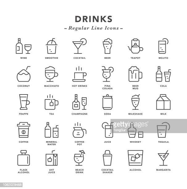 drinks - regular line icons - beer glass stock illustrations, clip art, cartoons, & icons
