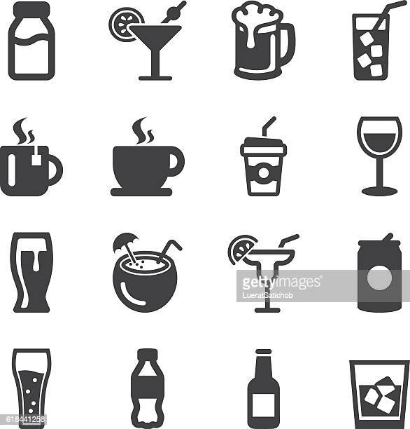 drinks silhouette icons | eps10 - beer alcohol stock illustrations, clip art, cartoons, & icons