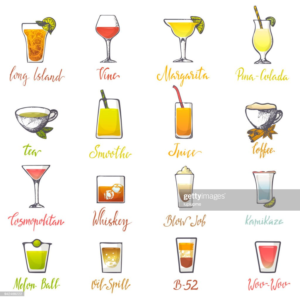 Drinks vector alcoholic beverage and drinkable cocktail with ice in glass on bar illustration set of alcohol juice refreshment isolated on white background