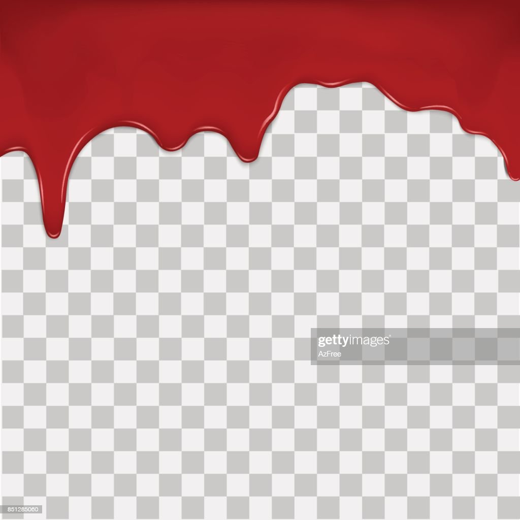 Dripping blood on transparent background. Vector.