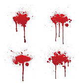 Dripping blood or red paint set isolated on white background.
