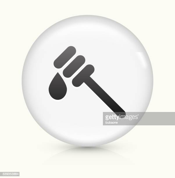Dripping Honey icon on white round vector button