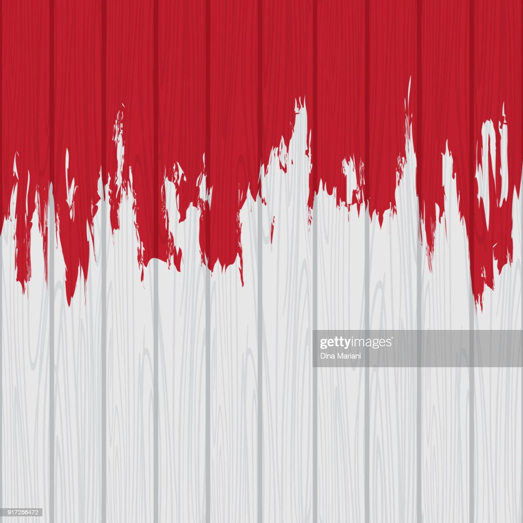 Dripping Red on White Wooden Wall