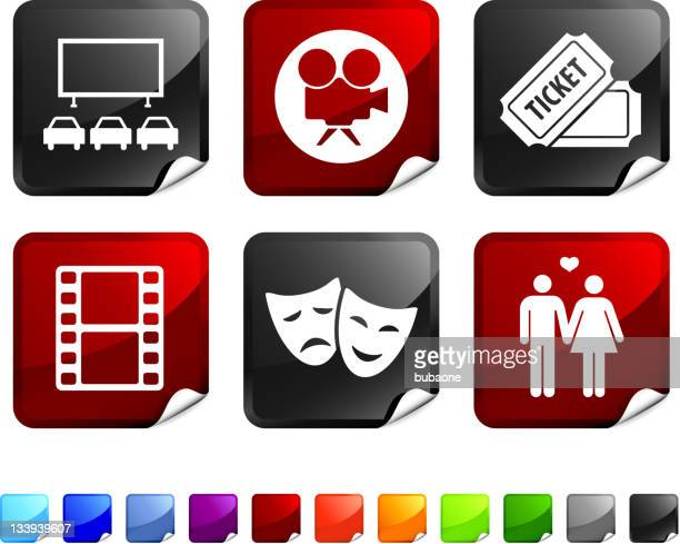 drive in movie night royalty free vector icon set stickers