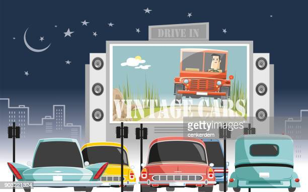 drive in vintage meeting - theater industry stock illustrations, clip art, cartoons, & icons