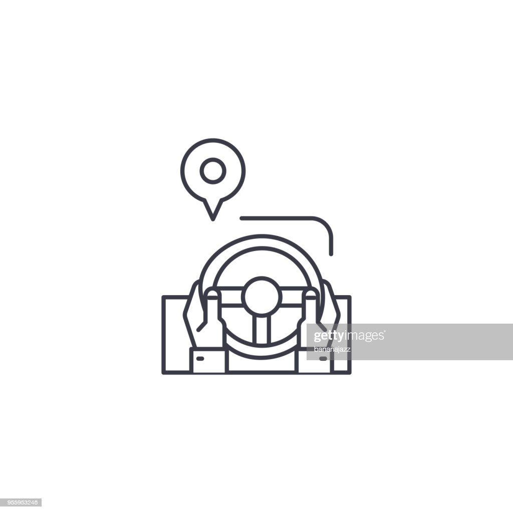 drive route vector line icon, sign, illustration on background, editable strokes
