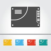 SSD Drive Single Icon Vector Illustration