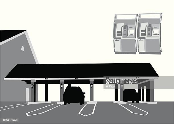 drive thru banking vector silhouette - drive through stock illustrations