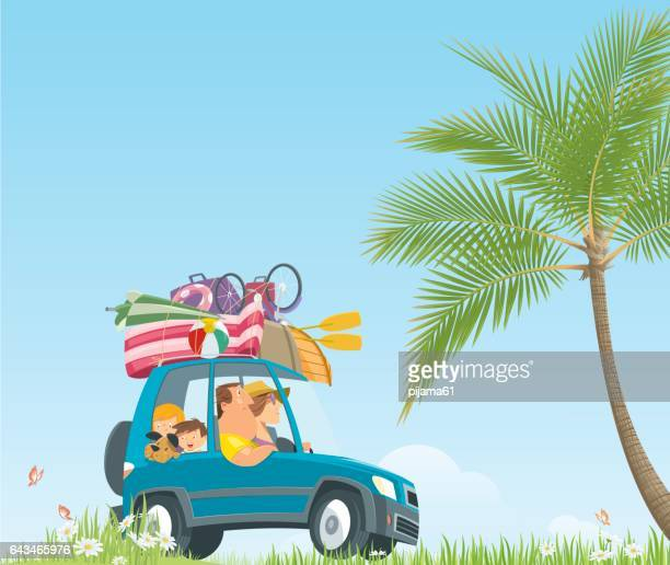 drive to summer holidays - holiday travel stock illustrations, clip art, cartoons, & icons