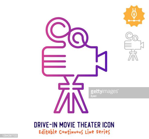 drive-in movie theater continuous line editable stroke line - unbroken film stock illustrations