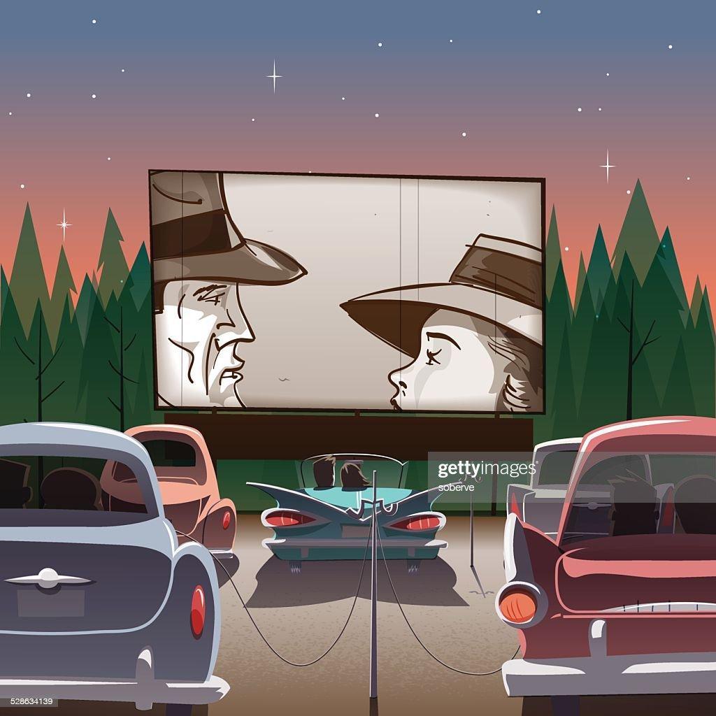 Drive-in theater : Ilustración de stock