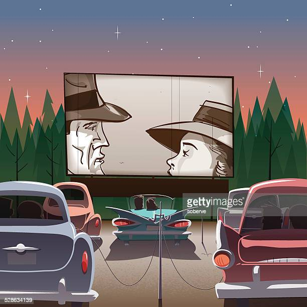 drive-in theater - outdoors stock illustrations