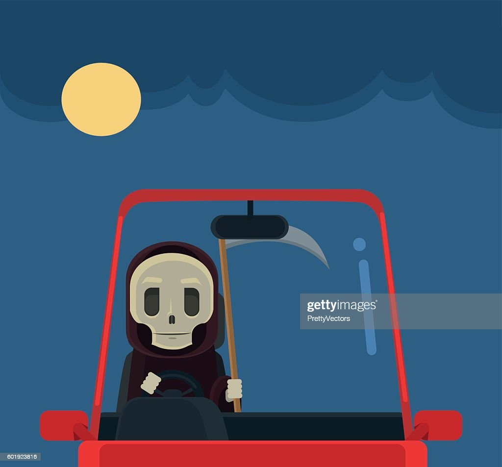 Driver death character. Vector flat cartoon illustration