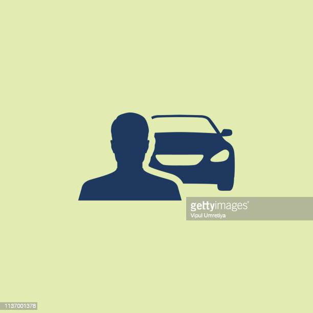 driver icon flat - car ownership stock illustrations, clip art, cartoons, & icons