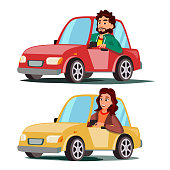 Driver People Vector. Man, Woman Sitting In Modern Automobile. Buy A New Car. Driving School Concept. Happy Female, Male Motorist. Isolated Flat Cartoon Character Illustration