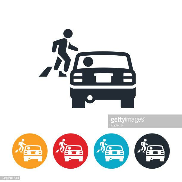 driver stopping for pedestrian icon - pedestrian stock illustrations, clip art, cartoons, & icons