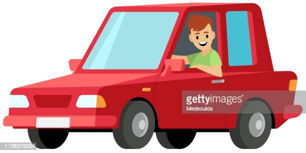 driver vector - hatchback stock illustrations, clip art, cartoons, & icons