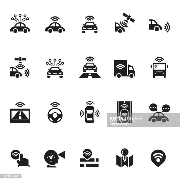 driverless autonomous car icons - sensor stock illustrations, clip art, cartoons, & icons