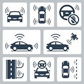 Driverless autonomous robotic car vector icon set