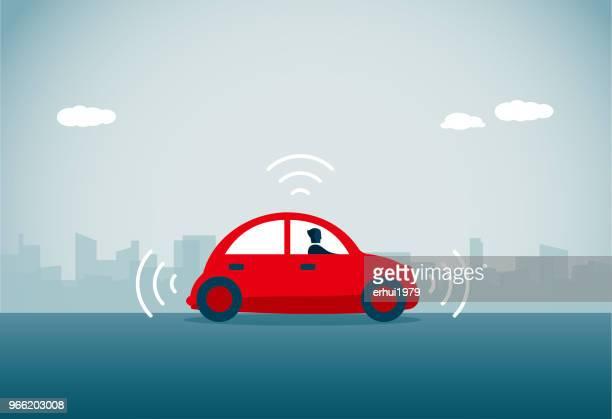 driverless car - parking stock illustrations, clip art, cartoons, & icons