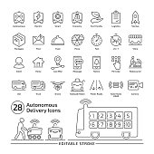 Driverless delivery vehicle editable stroke line icon set with thin outline illustration of van and robocourier for packages and food transportation.