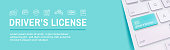Drivers Test and License Icon Set and - Web Header Banner