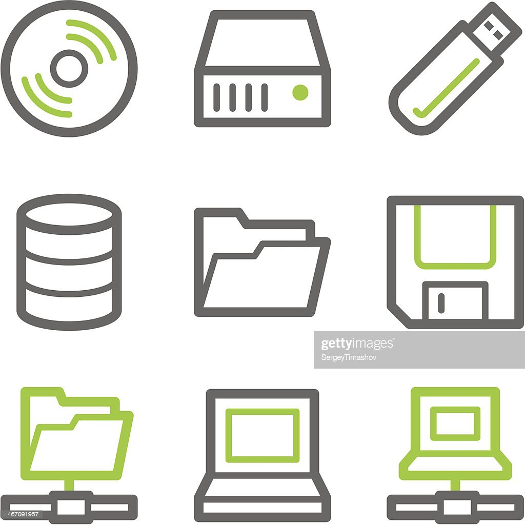 Drives and storage web icons, green gray contour series