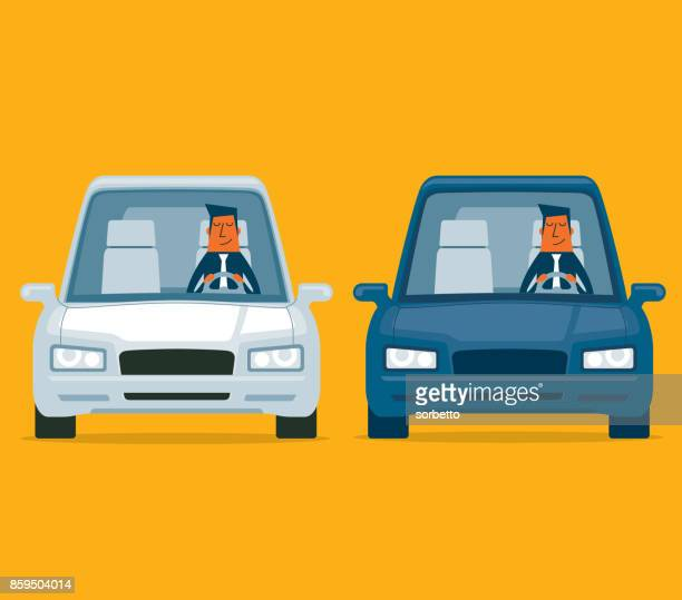 driving a car - businessman - front view stock illustrations