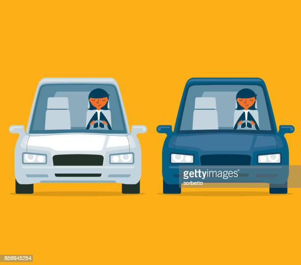 driving a car - businesswoman - car stock illustrations, clip art, cartoons, & icons