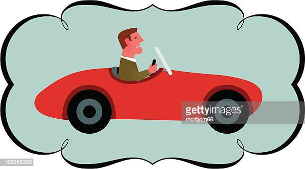 driving a red sportscar - domestic car stock illustrations, clip art, cartoons, & icons