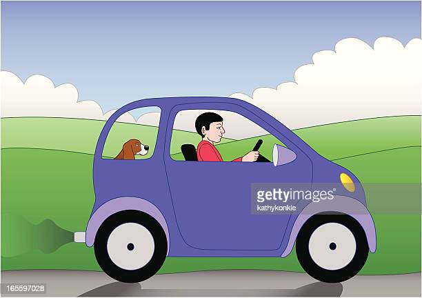 driving a small car - compact car stock illustrations, clip art, cartoons, & icons