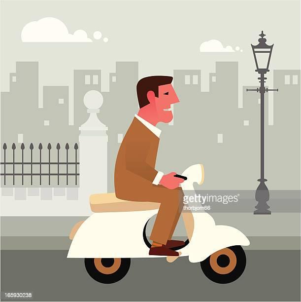 driving a vespa - vespa stock illustrations, clip art, cartoons, & icons