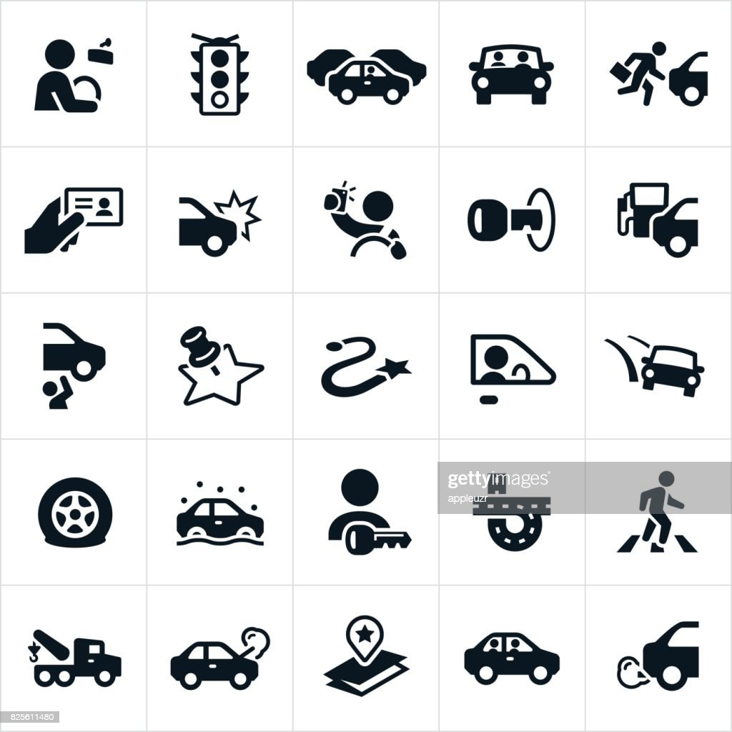 Driving and Traffic Icons : stock illustration