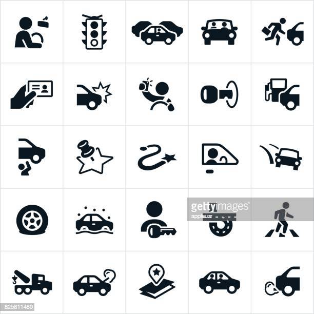 driving and traffic icons - stoplight stock illustrations
