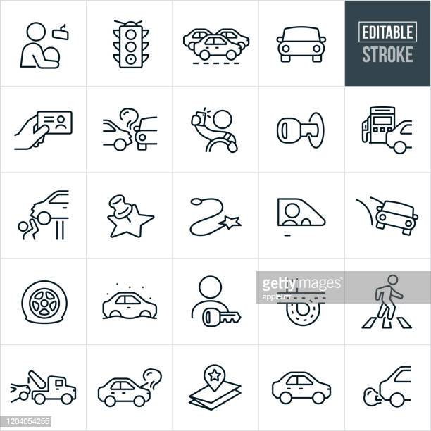 driving and traffic thin line icons - editable stroke - road marking stock illustrations