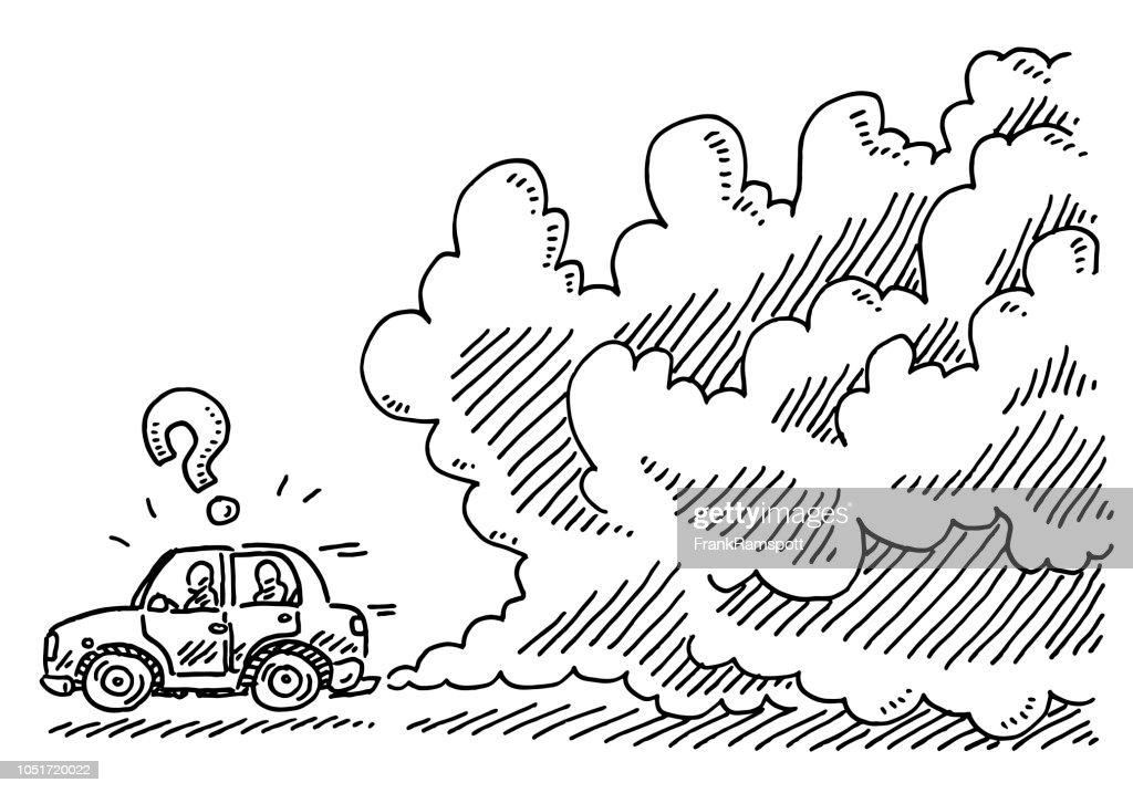 Auto kaputt Rauchen Zeichnung : Vektorgrafik