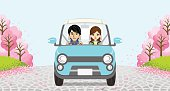 Driving  Couple -Row of cherry trees - EPS10