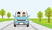Driving  Couple -spring road - EPS10